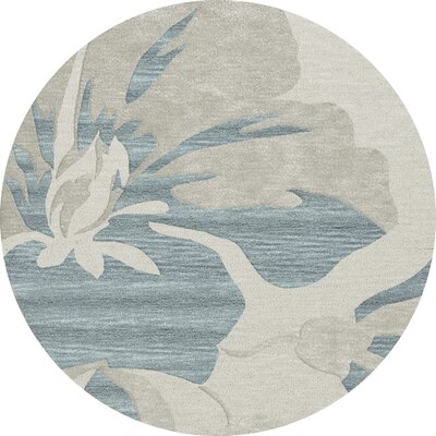 Bella Machine Woven Wool Blue Area Rug Rug Size: Round 6