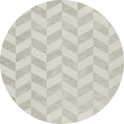 Bella Machine Woven Wool Gray Area Rug Rug Size: Round 8