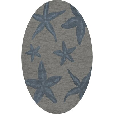 Bella Gray/Blue Area Rug Rug Size: Oval 6 x 9