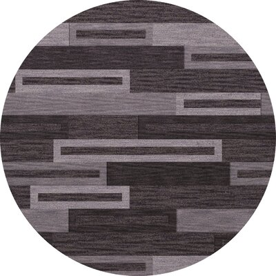 Bella Machine Woven Wool Black/ Gray Area Rug Rug Size: Round 4