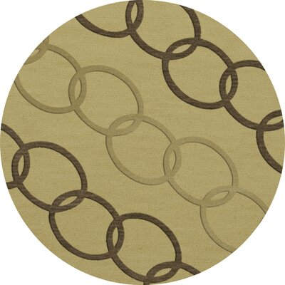 Bella Machine Woven Wool Beige Area Rug Rug Size: Round 12