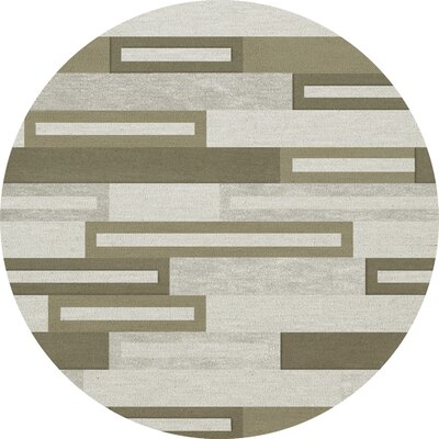 Bella Machine Woven Wool Gray/ Brown Area Rug Rug Size: Round 6'