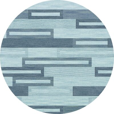 Bella Machine Woven Wool Blue Area Rug Rug Size: Round 4