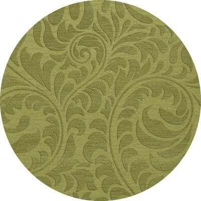 Bella Machine Woven Wool Green Pad Area Rug Rug Size: Round 4