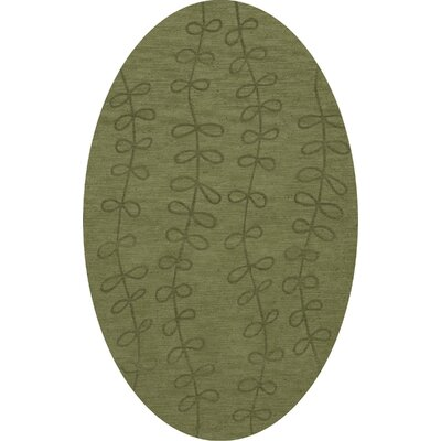 Bella Machine Woven Wool Green Area Rug Rug Size: Oval 9 x 12