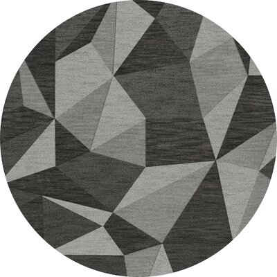 Bella Machine Woven Wool Gray Area Rug Rug Size: Round 6