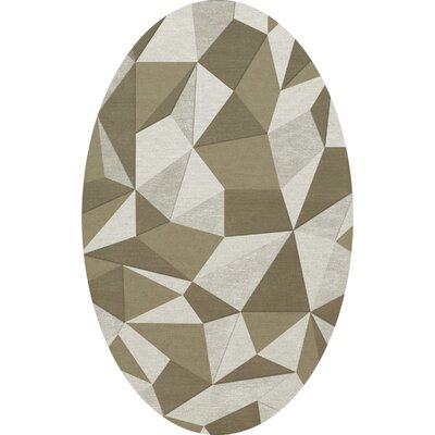 Bella Machine Woven Wool Beige/Gray Area Rug Rug Size: Oval 6 x 9