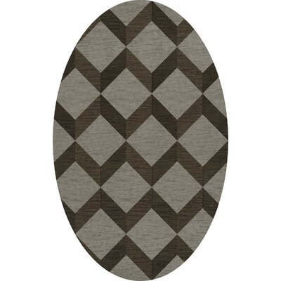 Bella Machine Woven Wool Gray/Brown Area Rug Rug Size: Oval 5 x 8
