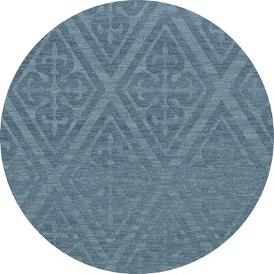 Bella Machine Woven Wool Blue Area Rug Rug Size: Round 12