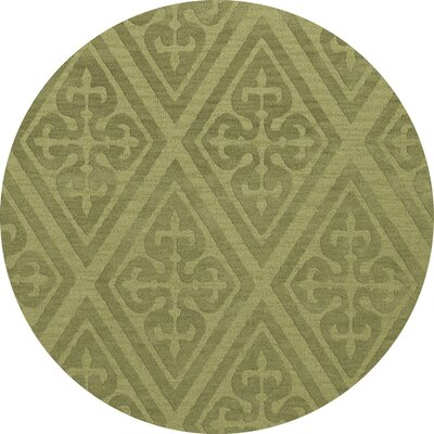 Bella Machine Woven Wool Green Area Rug Rug Size: Round 12'