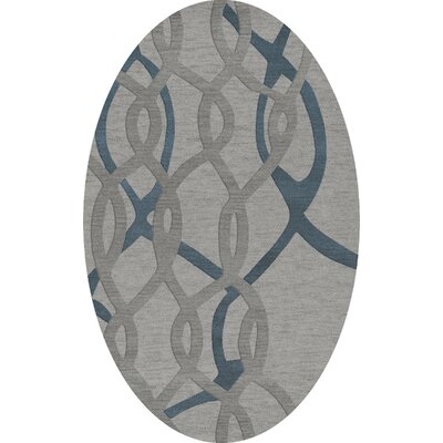 Bella Machine Woven Wool Gray Area Rug Rug Size: Oval 4 x 6