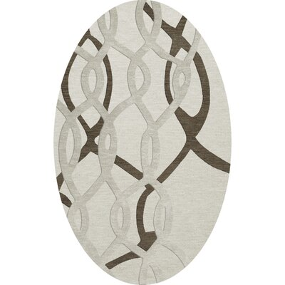 Bella Machine Woven Wool Gray Area Rug Rug Size: Oval 12 x 15