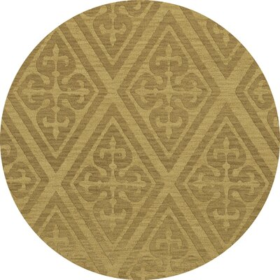 Bella Machine Woven Wool Beige Area Rug Rug Size: Round 6