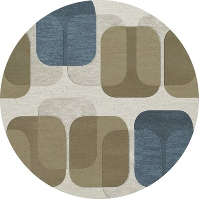 Bella Machine Woven Wool Gray/Brown Area Rug Rug Size: Round 4
