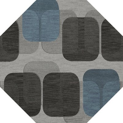 Bella Machine Woven Wool Gray/Black Area Rug Rug Size: Octagon 6