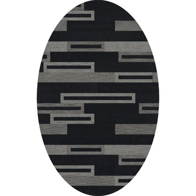 Bella Machine Woven Wool Black/Gray Area Rug Rug Size: Oval 9 x 12