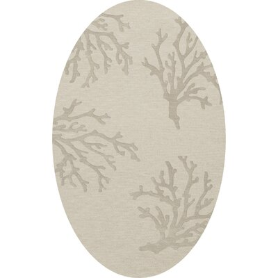 Bella Machine Woven Wool Gray Area Rug Rug Size: Oval 10 x 14