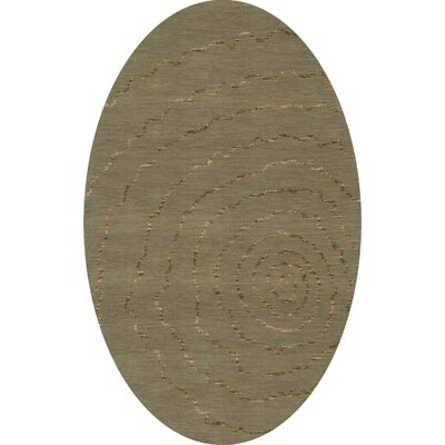 Bella Machine Woven Wool Gray Area Rug Rug Size: Oval 5 x 8