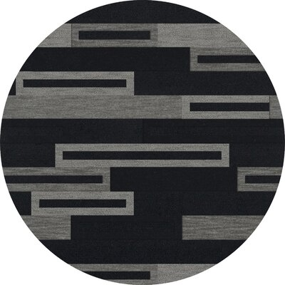 Bella Machine Woven Wool Black/Gray Area Rug Rug Size: Round 12