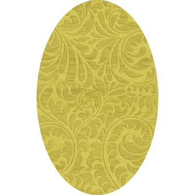 Bella Machine Woven Wool Yellow Area Rug Rug Size: Oval 3 x 5