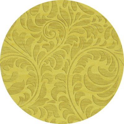 Bella Machine Woven Wool Yellow Area Rug Rug Size: Round 4