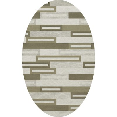 Bella Machine Woven Wool Gray/ Brown Area Rug Rug Size: Oval 6' x 9'