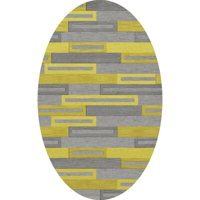 Bella Machine Woven Wool Gray/Yellow Area Rug Rug Size: Oval 12 x 18