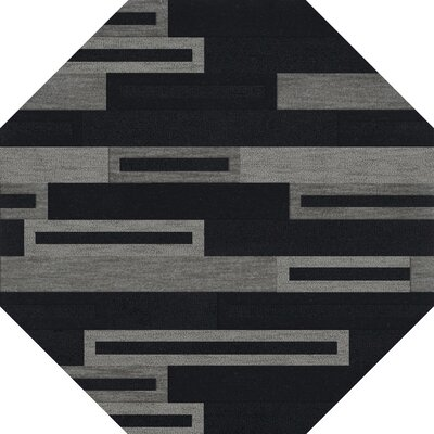 Bella Machine Woven Wool Black/Gray Area Rug Rug Size: Octagon 10