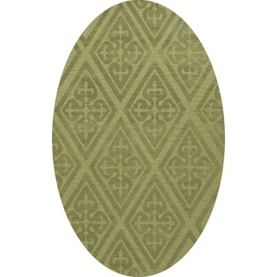 Bella Machine Woven Wool Green Area Rug Rug Size: Oval 4 x 6