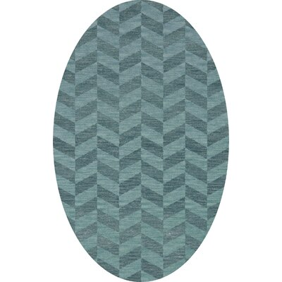 Bella Machine Woven Wool Blue Area Rug Rug Size: Oval 12 x 15