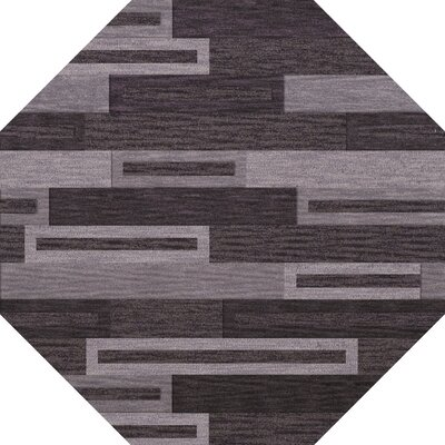 Bella Machine Woven Wool Black/ Gray Area Rug Rug Size: Octagon 6
