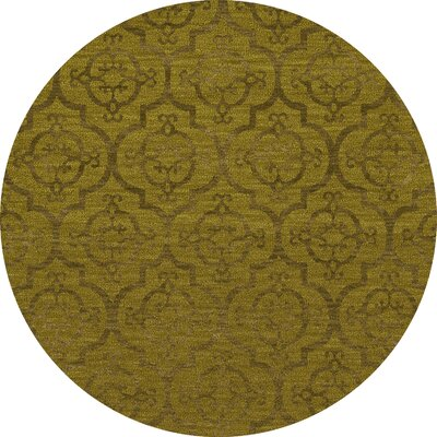 Bella Machine Woven Wool Gold Area Rug Rug Size: Round 8'