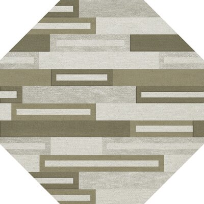 Bella Machine Woven Wool Gray/ Brown Area Rug Rug Size: Octagon 8'