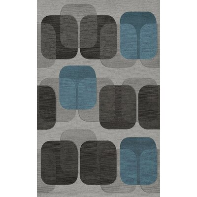 Bella Machine Woven Wool Gray/Black Area Rug Rug Size: Rectangle 6 x 9
