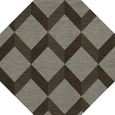 Bella Machine Woven Wool Gray/Brown Area Rug Rug Size: Octagon 6