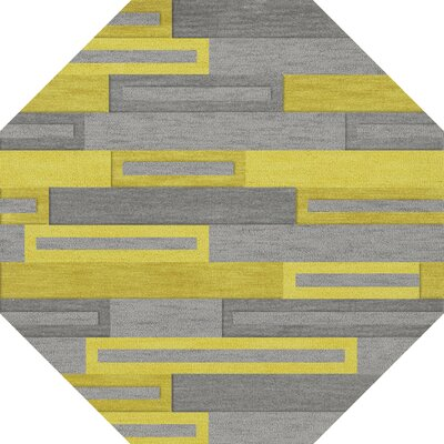 Bella Machine Woven Wool Gray/Yellow Area Rug Rug Size: Octagon 12