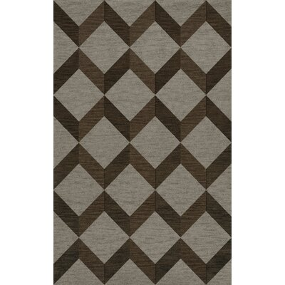 Bella Machine Woven Wool Brown/Gray Area Rug Rug Size: Rectangle 6' x 9'