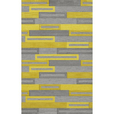 Bella Machine Woven Wool Gray/Yellow Area Rug Rug Size: Rectangle 4 x 6