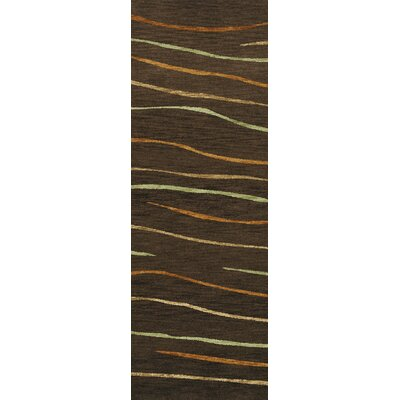 Bella Machine Woven Wool Brown Area Rug Rug Size: Runner 26 x 12