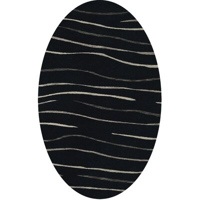 Bella Black Area Rug Rug Size: Oval 12 x 18