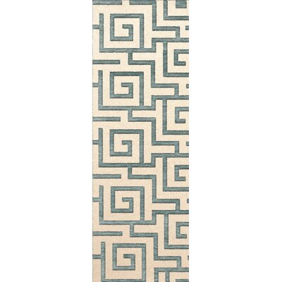 Bella Machine Woven Wool Beige/Gray Area Rug Rug Size: Runner 26 x 10
