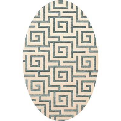Bella Machine Woven Wool Beige/Gray Area Rug Rug Size: Oval 3 x 5