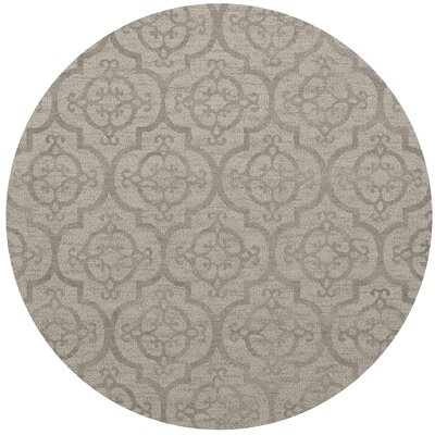 Bella Machine Woven Wool Silver Area Rug Rug Size: Round 8