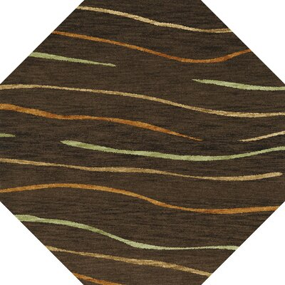 Bella Machine Woven Wool Brown Area Rug Rug Size: Octagon 10