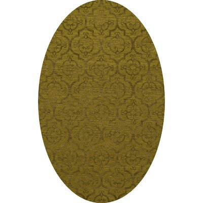 Bella Machine Woven Wool Gold Area Rug Rug Size: Oval 6' x 9'