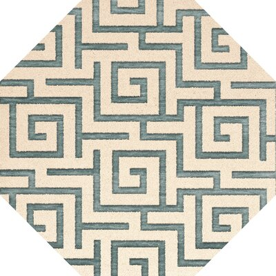 Bella Machine Woven Wool Beige/Gray Area Rug Rug Size: Round 4