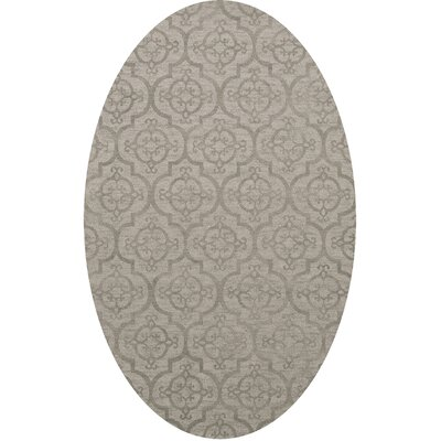 Bella Machine Woven Wool Silver Area Rug Rug Size: Oval 12 x 18