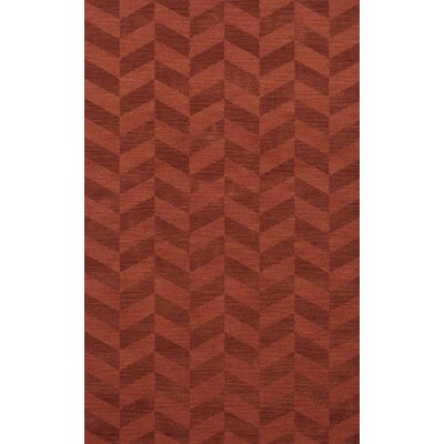 Bella Machine Woven Wool Red Area Rug Rug Size: Oval 4 x 6
