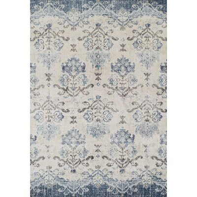 Antigua Blue/Beige Area Rug Rug Size: 33 x 53