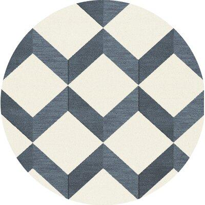 Bella Blue/White Area Rug Rug Size: Round 8